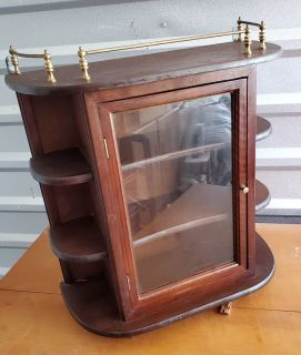Wall or Free Standing Wood Curio Cabinet
