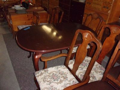 Oval Wood Table and Four Chairs Set