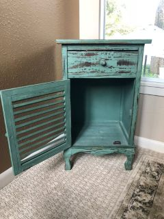 Teal Rustic Side Table