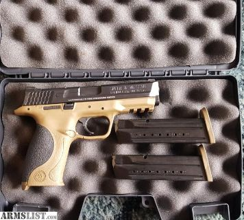 For Sale/Trade: Like New Smith and Wesson M&P 9mm semiautomatic pistol with 2 magazines. Fde. 4.25 inch barrel.