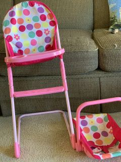 Doll high chair and car seat
