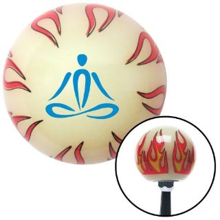 Purchase Blue Meditation Symbol Ivory Flame Shift Knob with M16 x 1.5 Insertlever knob motorcycle in Portland, Oregon, United States, for US $29.97