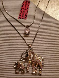 NWT 2 in 1 Betsey Johnson Elephant Necklace