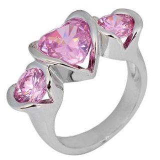 New - Pink Sapphire Heart Ring - Sizes 6 and 8