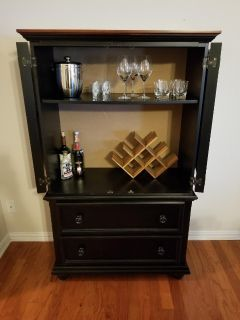 Hutch cabinet with drawers man cave bar