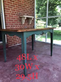 Solid wood mid century kitchen table + 4 chairs