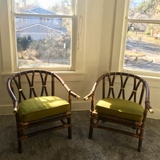 Vintage Designer Rattan Chairs (Ficks Reed)