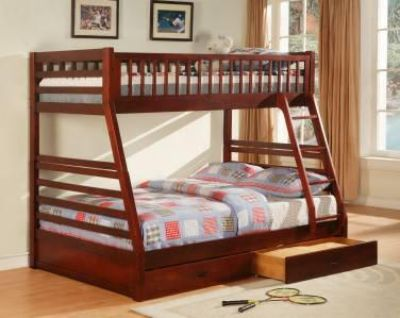 $339, VERY STURDY Twin over full solid wood bunk bed with storage drawers -