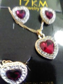 Beautiful necklace earrings and ring