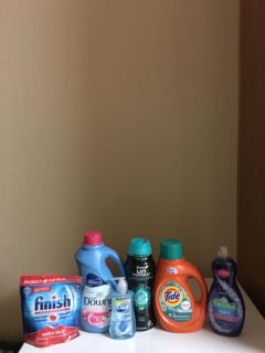 77oz Downy, 19.5 oz unstopables, 46 oz tide, 20 oz Palmolive, 16 count finish, and 7.5 oz dial all for $17!!!