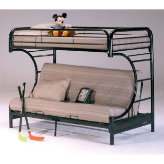 Bunk bed twin over full- can convert to futon. Sturdy black metal. Pick up only in Hendersonville