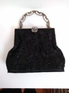 Evening Bag Shoulder Tote Clutch Black Beaded Sequins Floral Rose