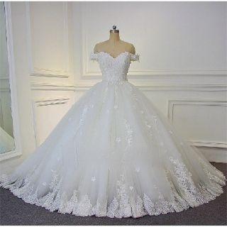 Peggy's A Line Appliqué Wedding Dress White/Ivory