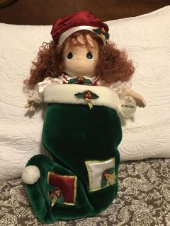 Precious Moments Doll in Christmas stocking
