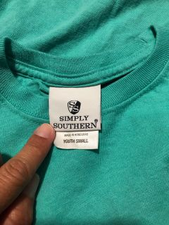 EUC Simply southern long sleeve T-shirt youth small turquoise dog jeep hair don t care 6 7 8 9