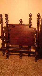 Solid Mahogany Twin Beds W/Like-New Mattresses & Box Springs, Set of Two