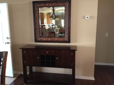 Dining table and chairs/buffet and mirror