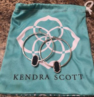 Kendra Scott Silver Hoop Black Drusy Earrings - Like New