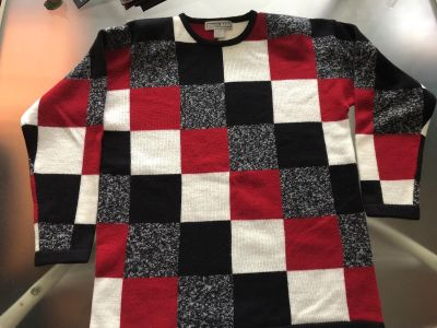 Mid Sleeve Red, Black, White, & Charcoal Block Sweater