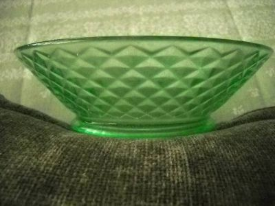 Depression Bowel Green Glass Diamond quilted pattern
