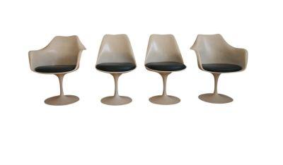 4 Eero Saarinen MidCentury Dark Green Tulip Chairs