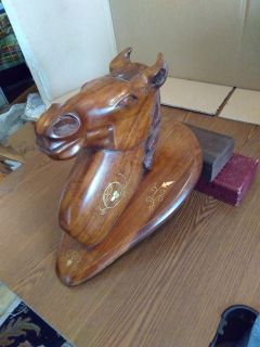 Solid wood horse head with inlays