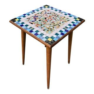 Mid Century Side Table Mosaic Tile