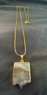 Natural Quartz Necklace with Long Chain (New, Never Worn)