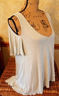 Free People Soft Sage Green Cold Shoulder Short Sleeve Swing Top, Rayon/Linen, Small