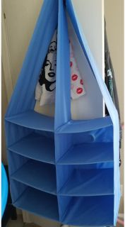 Big Blue closet organizer with side pockets