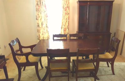 Compact dining room set, table, chairs, china cabinet