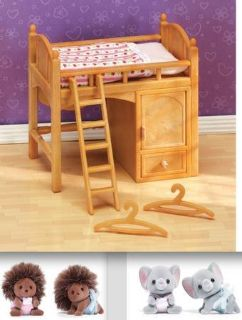 New! Calico Critters Loft Bed + Hedgehog + Labrador Twins Set