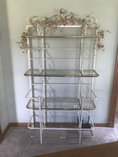 Brass and white baked enamel  bakers rack