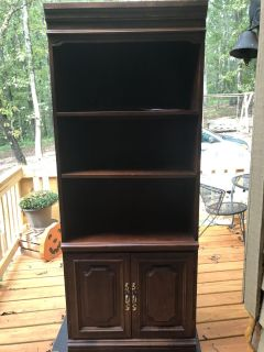 Hooker shelving and cabinet with a shelf in the cabinet