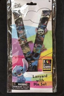 Stitch lanyard with 3 pins on it NWT