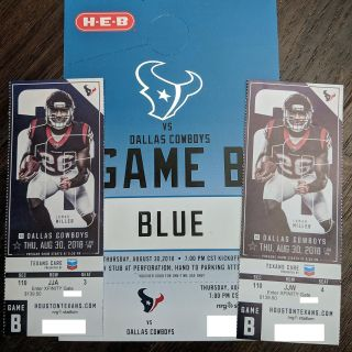 2 Lower Level Tickets for Texans vs Cowboys - Includes Blue Lot Parking