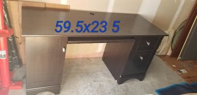 Small computer desk with side printer cabinet