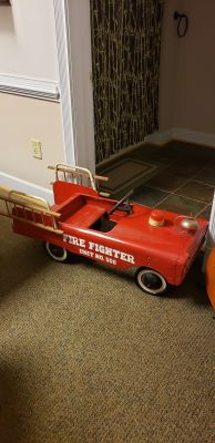 1950s firefighter fire engine with ladders
