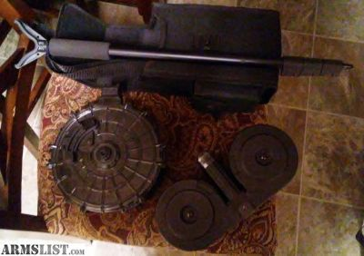 For Sale: 100 rd Ar 15 drum , 20 round saiga 12g drum, mossy oak 5ft shooting stick retractable.