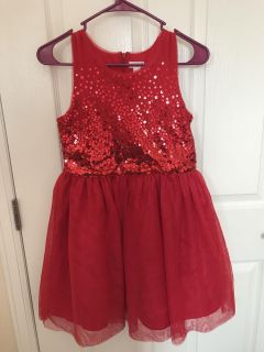 Girls Cat and Jack Red Sparkle Dress