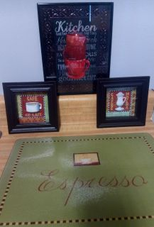 """4 piece """"cafe"""" decorative set for kitchen. Includes glass cutting board, 2 small square shadow box pics and an 8x10 kitchen pic. Sold as set"""