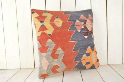 One-of-a-Kind Handmade Vintage Kilim Throw Pillow