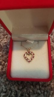 Real ruby and diamonds heart necklace and ring