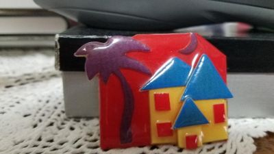"1 ""HOUSE PINS by Lucinda"" - Yellow House w/ Blue Roof plus Palm Tree and Moon"