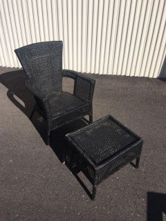 Black Outdoor Wicker Chair for Seating - Patio Furniture - Porch