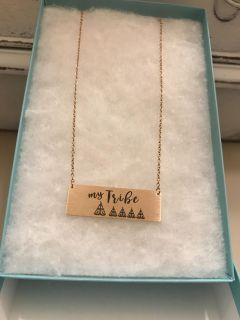 My Tribe with 4 teepees rose gold necklace