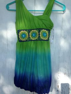 Girls Lime Green & Blue Dress Size 7 with Sequins and Glitter