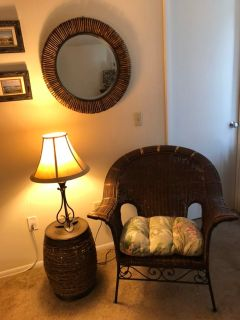 Wicker chair, side table and mirror