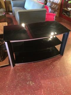 "Black Glass Tv Stand (43"" wide x 23"" deep)"