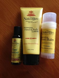 Naked Bee large 6.7 oz lotion, foot balm and hand sanitizer. New. PPU